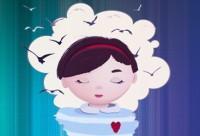 Ilustración niña con los ojos cerrados y pájaros