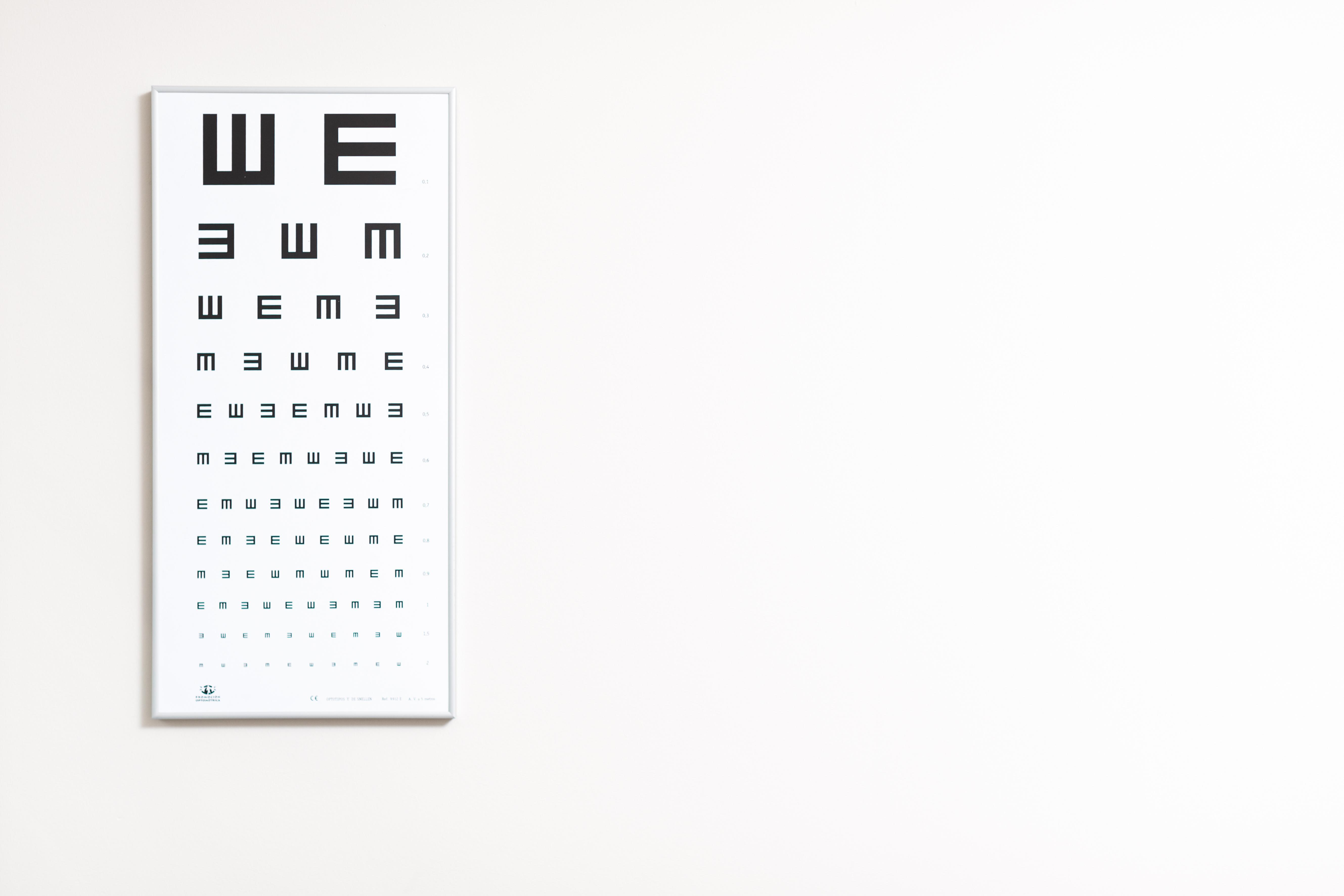 Optotipo en una clínica oftalmológica