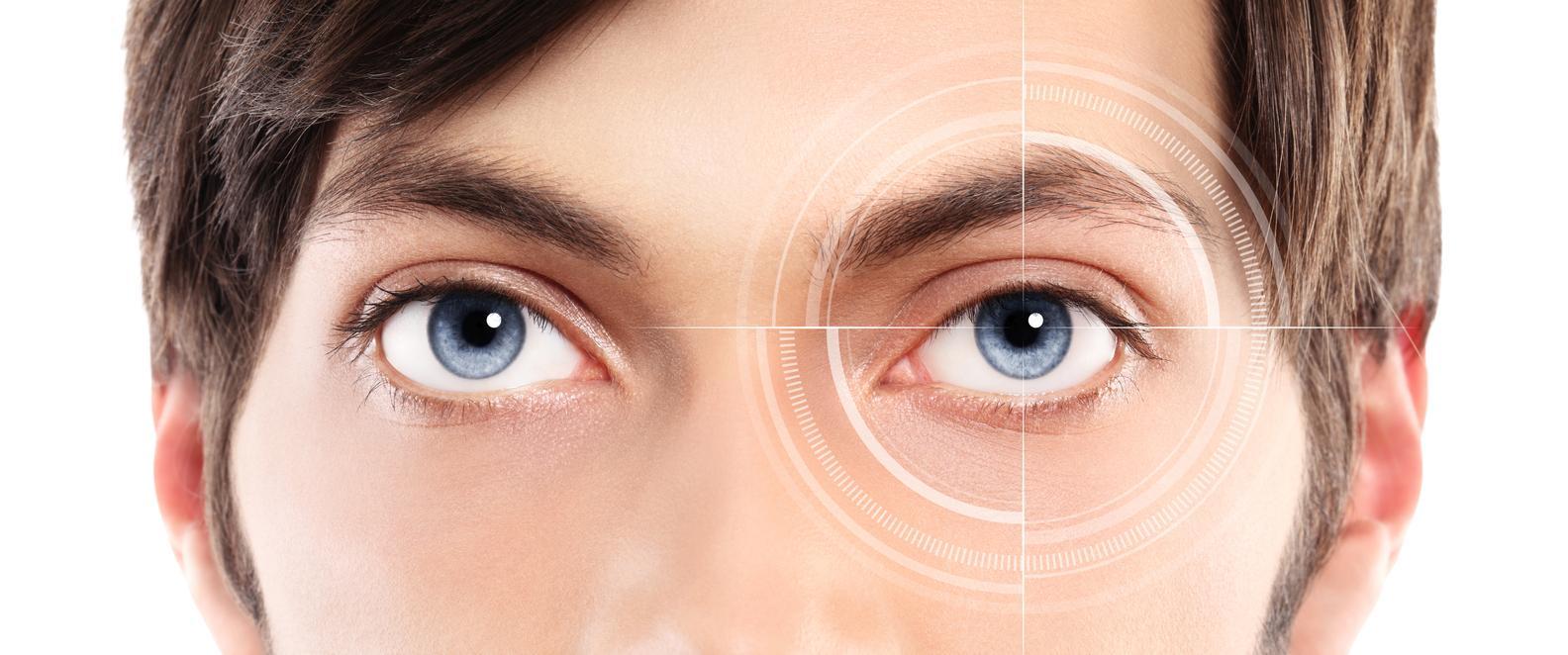 Primer plano ojos azules hombre