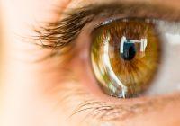 Primer plano ojo marrón de perfil con reflejo